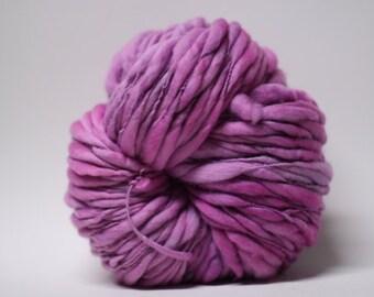 Handspun Merino Thick and Thin Wool Yarn Slub Hand Dyed tts(tm) Superfine Merino Super Bulky Bella Pink 02 Half-pounder