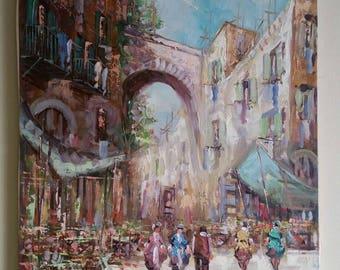 """R. Gaplagi, """"Mercato a Napoli"""", 1998 Made in Italy. Original Oil on Canvas"""
