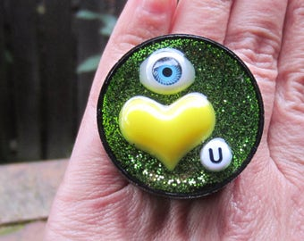 Eye Heart U ring - upcycled bottle cap ring -yellow