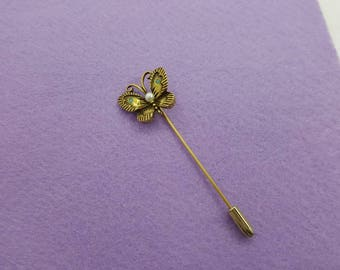 Butterfly Stick Pin Har style Gold tone Turquoise and Pearl