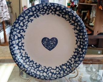 "Vintage Folk Craft Blue Sponge Ware Heart Tienshan Platter 12"""