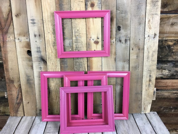 ON SALE - Berry Pink Picture Frame Set of 5, Rustic Hand Painted Set ...