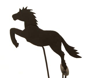 Vintage metal black silhouette horse - balance toy - folk art - skyhook
