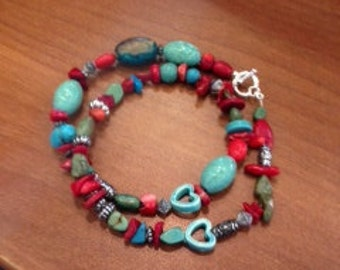 5/8 turquoise  and red necklace