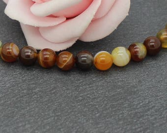 20 round beads Agate 6 mm color brown/beige PG169
