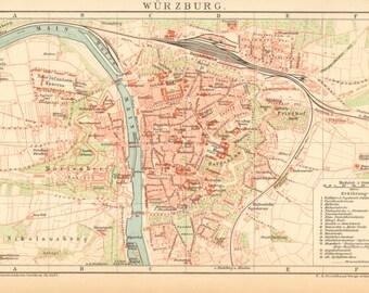 Vintage wurzburg map Etsy