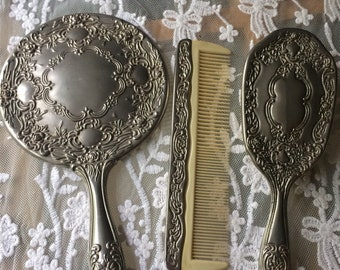 Vintage silver plated 3 piece vanity set mirror brush and comb