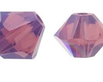 4mm Swarovski Cyclamen Opal Crystal Bicone  Xilion Qty 24