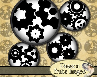 Black on White Gears 1 inch Bottlecap images- Steampunk Collage Sheet--Instant Download