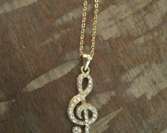 Gold Music Note Necklace - Rhinestone Music Note Necklace