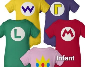 Super Mario Brothers Party - Infant Baby Onesie - Short Sleeve One-Piece - Mario Luigi Princess - Boy & Girl - Nintendo Halloween Costume