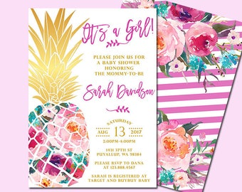 It's a Girl Baby Shower Invitation, Pineapple Baby Shower Invitation, Tropical Aloha Baby Shower Invitation, Luau Hawaiian Invitation