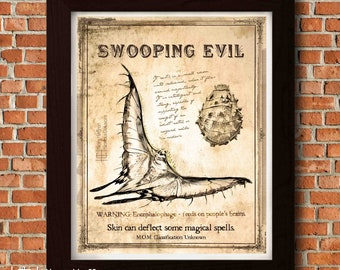 Swooping Evil Fantastic Beasts Book Page, Digital Painting Print