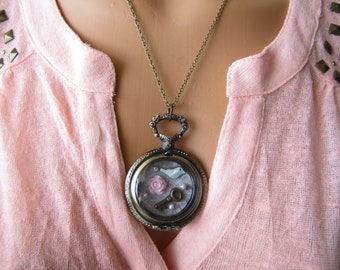 Shadowbox Pocket watch Necklace/Secret Garden Necklace
