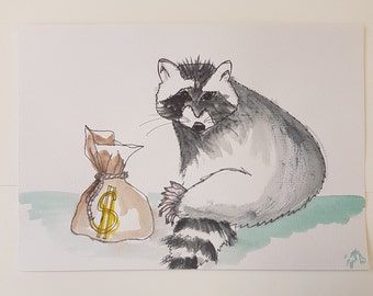 Raccoon // Art // Illustration // Watercolours // Watercolors // Alternative Art // Money // Aquarelle