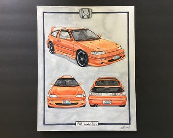Custom Car Painting-Race Car Portrait-Honda Painting-Watercolor Car Painting