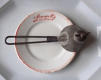 Antique ice cream scoop, Conical ice cream scoop, Soldered tin ice cream scoop, Kitchen primitives, Turn key ice cream scoop, Antique dipper