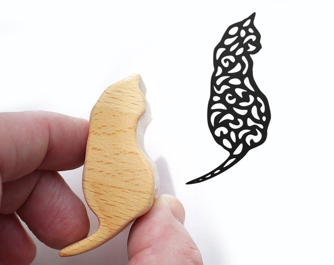 Cat Stamp for Cat Lovers from Wood and Rubber, Harlequin Cat Stamp