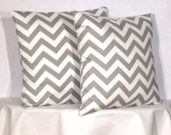 """22"""" Chevron Zig Zag Pillow Set - Set of 22 x 22 Inch Chevron Pillow Covers - Grey and White - TWO PILLOW COVERS"""