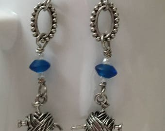 Ball of Yarn Earrings with Blue Glass Bead