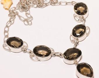 Smoky Topaz Gemstone Silver Plated Nacklace