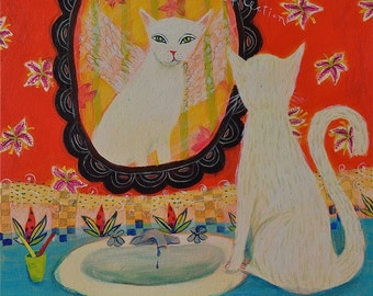 Reflection - white cat -  limited edition gicleeon paper/animal art print/whimsical/21colors
