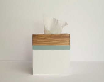 Tissue box cover, Tissue box, Kleenex box, Wooden Tissue box, Coastal tissue box, White and blue decor,Tissue box cover, Stain box