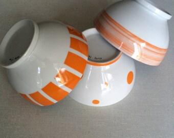 Bol porcelaine orange et blanc pour le Petit Déjeuner par Pigments et Porcelaine