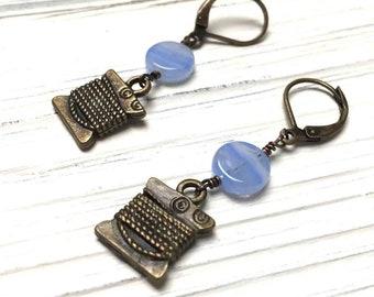 Silk Thread Charm Earrings. Medium Drop Earrings. Dangle Earrings. Sky Blue. Lever Back. Handmade Jewelry.