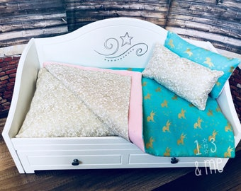 "The Tessa - UNICORN Bedding Ensemble Set for 18"" dolls"