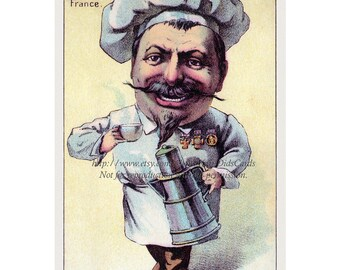 French Chef Card Drinking Coffee in France Repro Victorian Trade Card