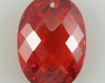 18mm faceted CZ cubic zirconia oval pendant red 2453