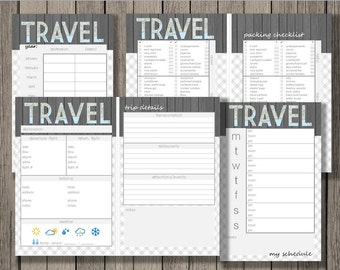Travel printable, vacation planner, yearly trip planner, trip details sheet, packing checklist, and weekly trip schedule.