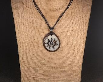 Carved Sun Tagua Nut Necklace