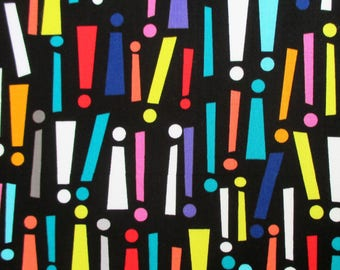 Fabric, Get To The Point!, Black and Brights, Exclamation Point, Punctuation, Michael Miller, By the Yard