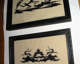 Vintage Scherenschnitte Set of 2 By Same Hand Dated 1920's Old Scissor Work Paper Cutting Signed HEPLER Paper Cutwork Silhouette Lot of 2