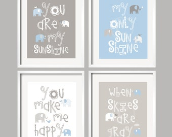 Elephant Nursery Decor In Blue And Gray Animals Art Set Of 4 Prints New Parents Gift For Baby Boy Kids Room Decoration Wall