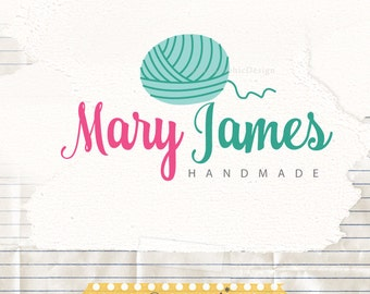 Logo Design, Yarn Logo, Knitting Shop Logo Branding, Yarn Logo Premade, Crochet Logo Design