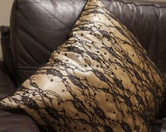 Gold & Black Floral Lace Net Cushion Cover, net cushion cover, gold cushion cover, satin cushion cover, black cushion cover