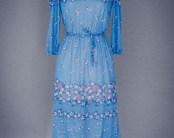 Robe mi-longue bleu Transparent vintage des années 1970