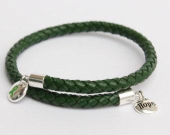 Cerebral Palsy Awareness Bracelet - Braided Leather Cord