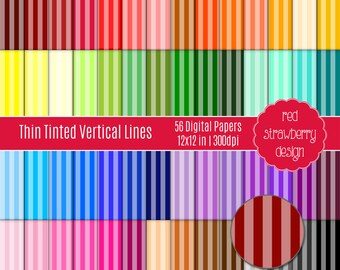 75% OFF Sale - 56 Digital Papers - Thin Tinted Vertical Stripes - Instant Download - JPG 12x12 (DP106)