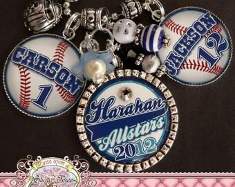 Personalized Baseball MOM, Customizable Baseball/Softball Necklace, Team Number Colors, BASEBALL MOM, Team Mom, Sports Theme, Triple Pendant