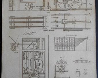 1820 Cordage Engraving. Original Antique Rope Making/Ropemaking Machinery, Equipment print.