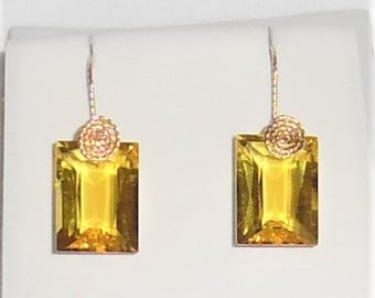25 cts Natural Octagon cut Yellow Quartz gemstones, 14kt yellow gold Pierced Earrings