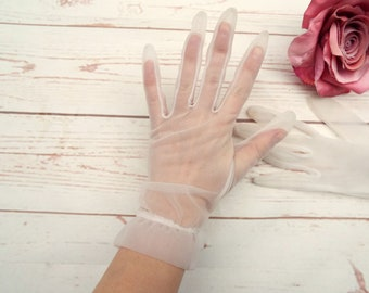 Sheer Gloves - Vintage Sheer Gloves - Vintage Nylon Gloves - White Gloves - St Micheal - 1950s Gloves - Vintage Chiffon Gloves - 50s Gloves