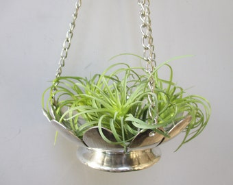 Vintage Silver Plated Pot Hanging Chain Planter Silver Plated Lotus Blossom Hanging Planter Pot Vintage Home and Living Indoor Hanging Pot