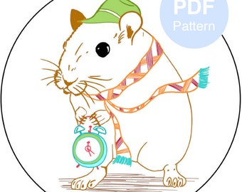 Hand Embroidery PDF Pattern - Tic Toc Time: Beginner Pattern|Embroidery Hoop Pattern|Hoop Art|DIY Gift|Printable|Instant Download|Digital