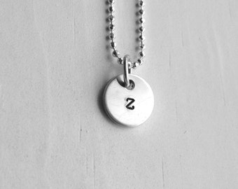 Sterling Silver Initial Necklace, Tiny Letter z Necklace, Initial Pendant, Personalized Jewelry, Sterling Silver Jewelry
