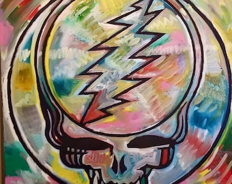 Grateful Dead Art Steal Your Face by Matt Pecson Jerry Garcia Art Canvas Wall Art Best Selling Items Boyfriend Gift MADE TO ORDER